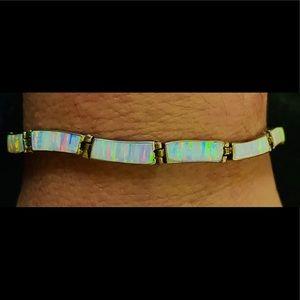 Vintage Fire Opal Inlay .950 Silver Link Bracelet